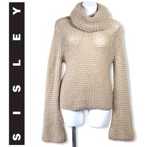 Sisley Italy Chunky Cowlneck Bell Sleeve Sweater M